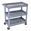 Luxor High Capacity 3 Tub Shelves Cart in Gray