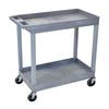 Luxor High Capacity 2 Tub Shelves Cart in Gray