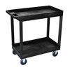 High Capacity 2 Tub Shelves Cart in Black
