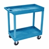 High Capacity 2 Tub Shelves Cart in Blue