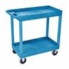 Luxor High Capacity 2 Tub Shelves Cart in Blue