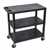 Black EC222-B 18x32 Cart 3 Flat Shelves