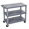 Luxor Gray EC222-G 18x32 Cart 3 Flat Shelves