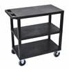 Black EC222HD-B 18x32 Cart with 3 Flat Shelves