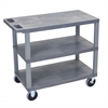 Luxor Gray EC222HD-G 18x32 Cart with 3 Flat Shelves