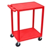 Luxor 2 Shelf Utility Cart Red