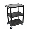 3 Shelf Utility Cart Black