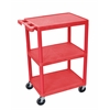 Luxor 3 Shelf Utility Cart Red