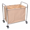 Luxor Laundry Cart W/ Steel Frame & Tan Canvas Bag