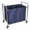 Industrial Laundry Cart W/ Steel Frame & Navy Canvas Bag W/ Dividers