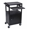 Luxor Endura Black 3 Shelf Presentation Cart W Cabinet & Pullout Shelf
