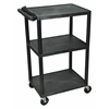 "Luxor Endura Black 3 Shelf Presentation Cart 41""H"