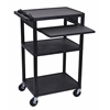 Luxor Black Endura 3 Shelf Presentation Cart with Pull Out Shelf