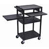 Luxor Black Endura 3 Shelf Presentation Cart with 2 Pull Out Shelves