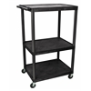 "Luxor Black Endura 3 Shelf Presentation Cart 54 1/4""H"