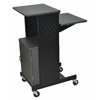 Gray 4 Shelf Mobile Presentation Station W/ Cabinet