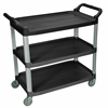 Luxor Large 3 Shelf Black Serving Cart