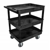 Luxor Black 24x32 3 Tub Cart W/ SP6 Casters