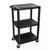 "Luxor H. Wilson Black Tuffy 3 Shelf 42"" AV Cart"
