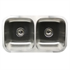Nantucket Sinks' NS5050 - 32 Inch Double Bowl Equal Undermount Stainless Steel Kitchen Sink, 18 Gauge