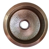 RS18-LC - 18 Inch Hand Hammered Copper Round Undermount Bar Sink, Light Copper Finish