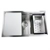 Nantucket Sinks' ZR-PS-3018-16 - 30 Inch Pro Series Large Rectangle Single Bowl Undermount Stainless Steel Kitchen Sink, With Included Grid, Colander And Cutting Board