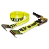 Ratchet Tie-Down Strap, 2in x 27ft, 10000lb Cap, Flat Hook Ends