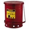Justrite Red Oily Waste Can, 10gal, Lever Lid