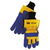 Insulated Leather Palm Gloves, Blue/Yellow, Large