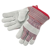 Economy Grade Leather Gloves, White/Red,X-Large