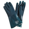 "Premium Chemical-Resistant PVC Gloves, 14"" Length, Large, Green"