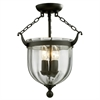 3 Light Semi-Flush Mount Bronze
