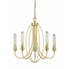 5 Light Chandelier Satin Gold
