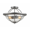 2 Light Semi Flush Mount Old Silver
