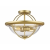 2 Light Semi Flush Mount Satin Gold