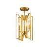 3 Light Semi Flush Mount Polished Metallic Gold