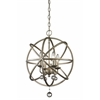 Z-Lite 4 Light Pendant Antique Silver + Clear Crystal