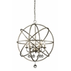 Z-Lite 6 Light Pendant Antique Silver + Clear Crystal