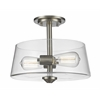 2 Light Semi Flush Mount Brushed Nickel