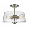 3 Light Semi Flush Mount Brushed Nickel