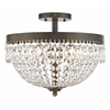 4 Light Semi Flush Mount Golden Bronze