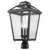 3 Light Outdoor Post Mount Light Black