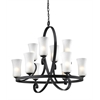 10 Light Chandelier Café Bronze