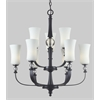 9 Light Chandelier Matte Black