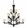 15 Light Chandelier Matte Black