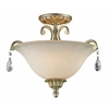 3 Light Semi-Flush Mount Antique Silver