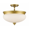 3 Light Semi Flush Mount Satin Gold