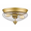 2 Light Flush Mount Satin Gold