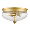3 Light Flush Mount Satin Gold