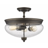 3 Light Semi Flush Mount Olde Bronze